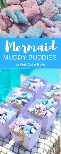 Deliciously wrapped in candy melts and powdered sugar these Mermaid Muddy Buddies are a must have at your next Mermaid party. via Deliciously wrapped in candy melts and powdered sugar these Mermaid Muddy Buddies are a must have at your next Mermaid party. Mermaid Party Food, Mermaid Theme Birthday, Little Mermaid Birthday, Little Mermaid Parties, Birthday Fun, 3rd Birthday Parties, Birthday Ideas, Birthday Decorations, Birthday Snacks