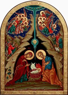 Різдво Господа нашого Ісуса Христа ~ If only the Vatican's 2017 nativity scene was centred on Christ (and the Holy Family) half as much as this icon. Byzantine Icons, Byzantine Art, Religious Icons, Religious Art, Christian Artwork, Jesus Pictures, Catholic Art, Art Icon, Holy Family