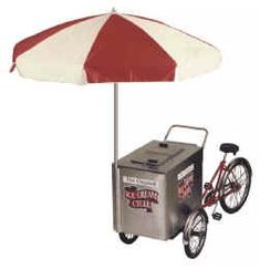 Amongst our most famous products were the original Good Humor Ice Cream Tricycle. Seen in neighborhoods throughout the country with the Ice Cream Man jingling his chime bells surrounded by kids, these classic cycles were such an integral part of Americana Good Humor Ice Cream, Bicycle Cart, Popcorn Cart, Work Trailer, Ice Cream Man, Hot Dog Cart, Bike Design, Good Job, Cool Bikes