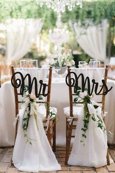 Wedding Chair Sign Mr&Mrs Chair Sign Wooden Chair Sign Gold Chair Signs Chair Backs Wedding Chair Decor Rustic Wedding Signs Inexpensive Wedding Venues Toronto Outdoor Wedding Chairs, Wedding Chair Signs, Wedding Chair Decorations, Rustic Wedding Signs, Wedding Table Centerpieces, Flower Centerpieces, Centerpiece Ideas, Mr Mrs, Romantic Weddings