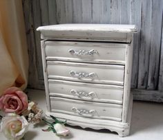 White Vintage Jewelry Box Shabby Chic Antique by WillowsEndCottage