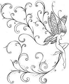 fée dansante avec ailes en tant que modèle de tatouage original