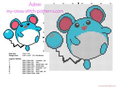 The Pokemon Marill number 183 of the second generation cross stitch pattern
