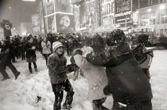 Snowball fight in Times Square, happened to me once in Boston, one of the coolest experiences to have with a bunch of complete strangers.