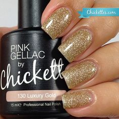 nails.quenalbertini: Pink Gellac by Chickettes 'Holiday Sparkle' Collection - Luxury Gold