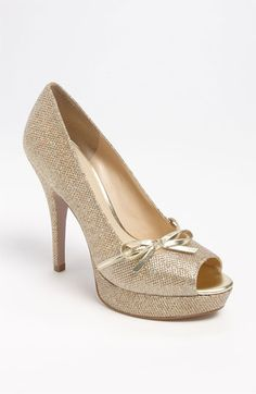 Gold glitter bow peep toe pumps