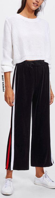 Split Striped Side Wide Leg Pants