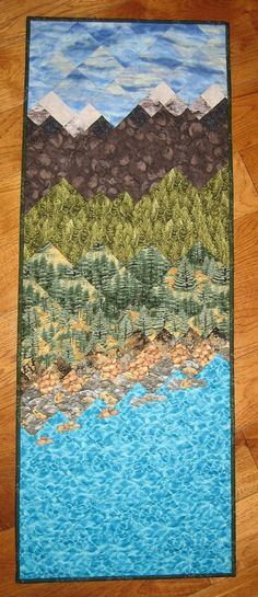 Lake Tahoe Art Quilt Fabric Wallhanging Mountain Cabin Lodge Handmade