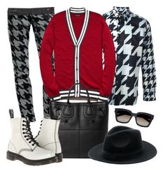 Houndstooth by tdwsammy on Polyvore featuring moda, Dr. Martens, Yves Saint Laurent, 21 Men, Paul Smith, Givenchy, Topman and Zara, Look inspired by Kurt Hummel Glee | Polyvore | Outfit | Menswear | Uomo | Collage