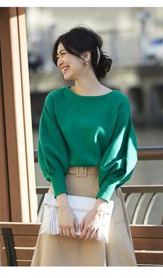 【Volume sleeve knit tops】レディース ボリューム トップス