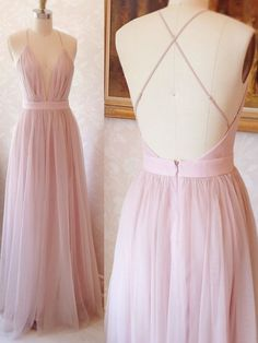 Simply A-line Pink Long Tulle Prom Dress