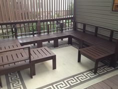 Our finished DIY patio furniture. annawhite.com