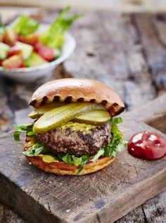 Elvis burger with chopped salad & pickled gherkin