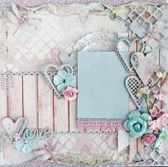 Premade 12 x12  Shabby Chic Scrapbook Layout door LittleScrapShop. Blue Fern Studios Chipboard and Love Story Pattern Paper