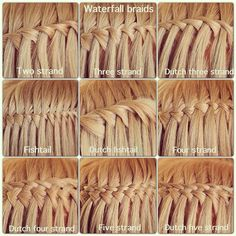Nine different waterfall braids! I made each of these into ladder braids, too! Would you like to see nine types of ladder braids?? Comment below!
