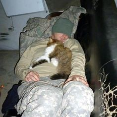 ♥♥♥ Some very caring soldiers found this stray cat while they were deployed in the Middle East. The army recognized him officially as a military working cat, and gave him a home of his own. Not only that, he;s also got an official rank: Private First Class. Thank you to all our military men and women for their service, and for wonderful stories like this!