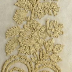 Gold Lace Fabric, Tambour, Cotton Thread, Lace Applique, Dates, Swag, Embroidery, Flower, Antiques