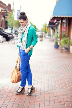 bright sweater, cobalt pants, patterned scarf, and wedges