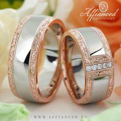Barocco Bold No-6 karikagyűrűk - Rozé és fehér arany gyémántokkal foglalt jegygyűrűk. http://www.affianced.hu/