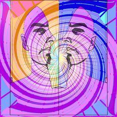 Sunbeam, Positive, Negative Face, Digital Art, Gareth Pritchard, made with GIMP open source photo editing software.