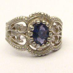 Handmade Sterling Silver Filigree Crown Iolite Ring by JandSGems, $149.76