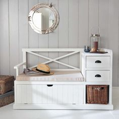 Wooden hallway unit in white W Furniture Projects, Home Furniture, Furniture Design, Small Hallway Furniture, Wooden Shoe Cabinet, Hallway Unit, White Hallway, Etagere Design, Small Hallways