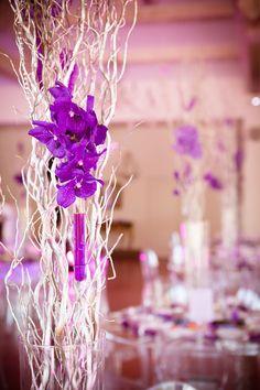 mariage, violet, argent, orchidées wanda