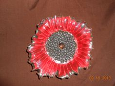 Ceramic Decorative Flower Plate Red/Black by kinzerellascreations, $15.00