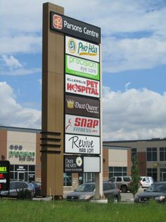 Parsons Centre business signage in Edmonton, Alberta. Pylon design and build by Blanchett Neon.