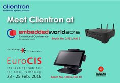Samenvatting: Clientron toont producten op EuroCIS en Embedded World 2016