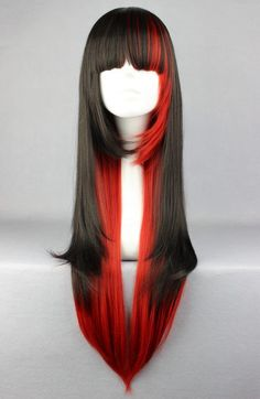 Punk Rock Black Red Straight 70cm Long Wig Long Layered Wig - Hair