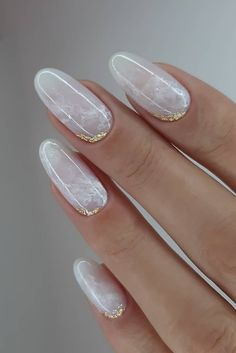 simple nail designs 30 White Nail Designs Bridal Ideas Full Of Style white nail designs wedding light marble with gold foil effect elina White Nail Designs, Acrylic Nail Designs, White Nails With Design, Cute Simple Nail Designs, Foil Nail Designs, Shellac Designs, Manicure Nail Designs, Nail Art Designs Images, Marble Nail Designs