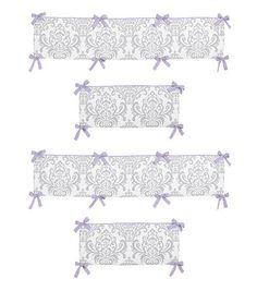 Sweet Jojo Designs Lavender and Gray Elizabeth Collection Crib Bumper