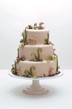 Woodsy Wedding Cake - soft mushroom taupe frosting with mushrooms, acorns, ferns & tiny flowers - very elegant