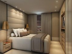 Risultati immagini per iluminação suite casal Modern Bedroom, Home Bedroom, Bedroom Interior, Bedroom Design, Luxurious Bedrooms, Master Bedrooms Decor, Interior Design Bedroom, Bedroom Decor, House Interior