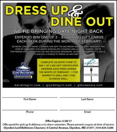 WE'RE BRINGING DATE NIGHT BACK Glyndon Lord Baltimore Cleaners have kept the Baltimore area looking their best for over 95 years! We are partnering with Barrett's Grill Restaurant and Glyndon Grill to offer our special customers a night to dress up and dine out. Visit our website to learn more ->>