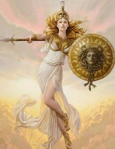 Athena is described as being beautiful, wearing scaled golden armour, helmet and a long dress with a hem of little snakes. Ancient Greek mythology also mentions that she sprung from her father's head fully armed. Her father was Zeus, and he made M. Character Inspiration, Character Art, Character Design, Rome Antique, Greek Gods And Goddesses, Athena Goddess, Minerva Goddess, Greek Goddess Art, Greek And Roman Mythology