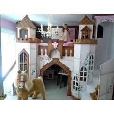 Modified Buckingham Palace Bunk Bed with slide - bunk bed or loft bed with playhouse under