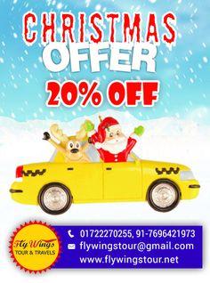 This Christmas season get 20% discount at Flywings Tour & Travels. #Chandigah #Mohali #Panchkula #Taxiservice #Touroperator