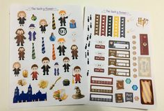 4 page Wizard and wands planner sticker set for vertical , horizontal and happy planner erin condren recollections habit trackers spending