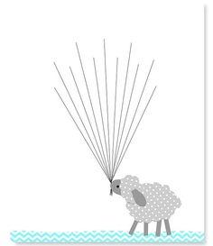 Sheep Guest Book Fingerprint Baby Shower by SweetPeaNurseryArt