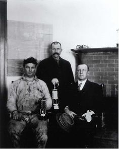 Abstract: First metal miners to carry safety lamps in the Copper Range District. Adventure Mine. Greenland, Michigan. E.W. Walker, general superintendent. Captain Stratton and Berryman, Day shift boss. 03/27/1917. Call Number: TICL-00739 Corporate Author: United States. Bureau of Mines. Creator: Smith, Howard I. Time Period: 1901-1920 Title: First metal miners to carry safety lamps in the Copper Range District. Year Published: 1917 from MSHA.gov photo archive