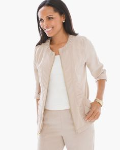 Chico's Women's Zenergy Woven Collection Ruched Detail Jacket
