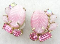 Weiss Pink Molded Glass Earrings - Garden Party Collection Vintage Jewelry