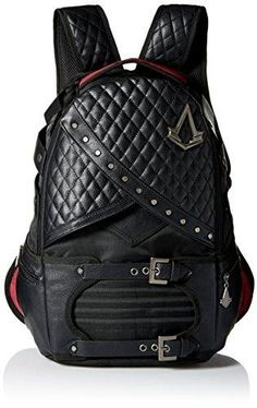Bioworld Men's Assassins Creed Laptop Backpack, Black: Assassins creed laptop backpack in black with red accents on the handle and straps. Features the assassins creed logo on the zipper pulls and main panel. Backpack Online, Laptop Backpack, Black Backpack, Leather Backpack, Laptop Bags, The Assassin, Backpacks For Sale, Cool Backpacks, Assassins Creed Logo