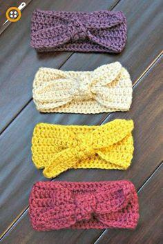 Baby Knitting Patterns Headband Crochet Top Knot Headband Baby Headband Baby by haydenandpark Bandeau Crochet, Bag Crochet, Crochet Headband Pattern, Baby Girl Crochet, Crochet Baby Clothes, Crochet Beanie, Crochet For Kids, Free Crochet, Crochet Patterns