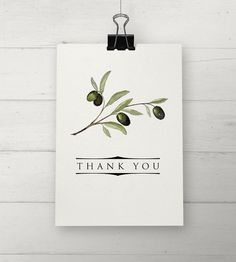 Olive Branch Thank You Cards by NooneyArt on Etsy