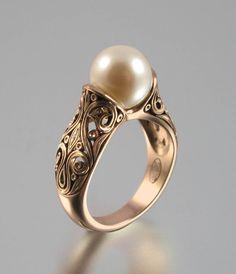 The ENCHANTED PEARL 14K rose gold ring. $1,245.00, via Etsy.