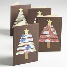 Christmas card ideas! (Cut strips of Christmas wrapping paper in 5 different lengths, add brown stump and gold star on top)