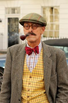man in tweed - awesome! hat, pipe, vest, bowtie, and tweed jacket